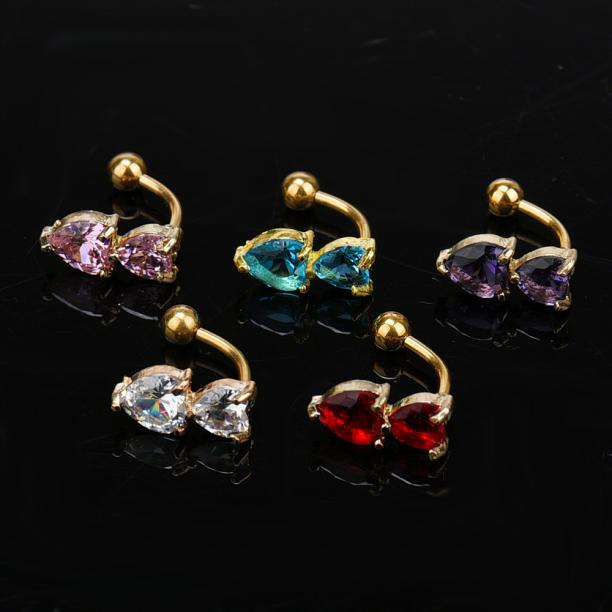 HTB1rMaYPVXXXXcAXVXXq6xXFXXXa Heart Belly Button Ring - Double Golden Crystal Belly Button Ring For Women - 5 Colors