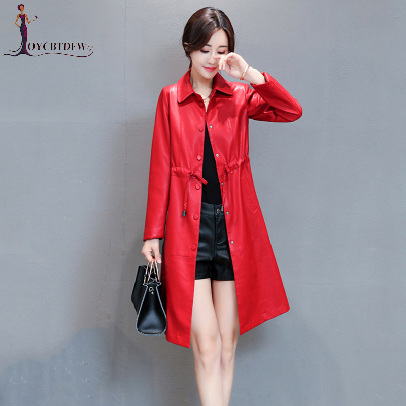 Plus Hot Sale Size M-5xl Autumn Red Leather Coat Women 2018 New Casual Fashion Slim Female Blue Long High Quality Trench 272