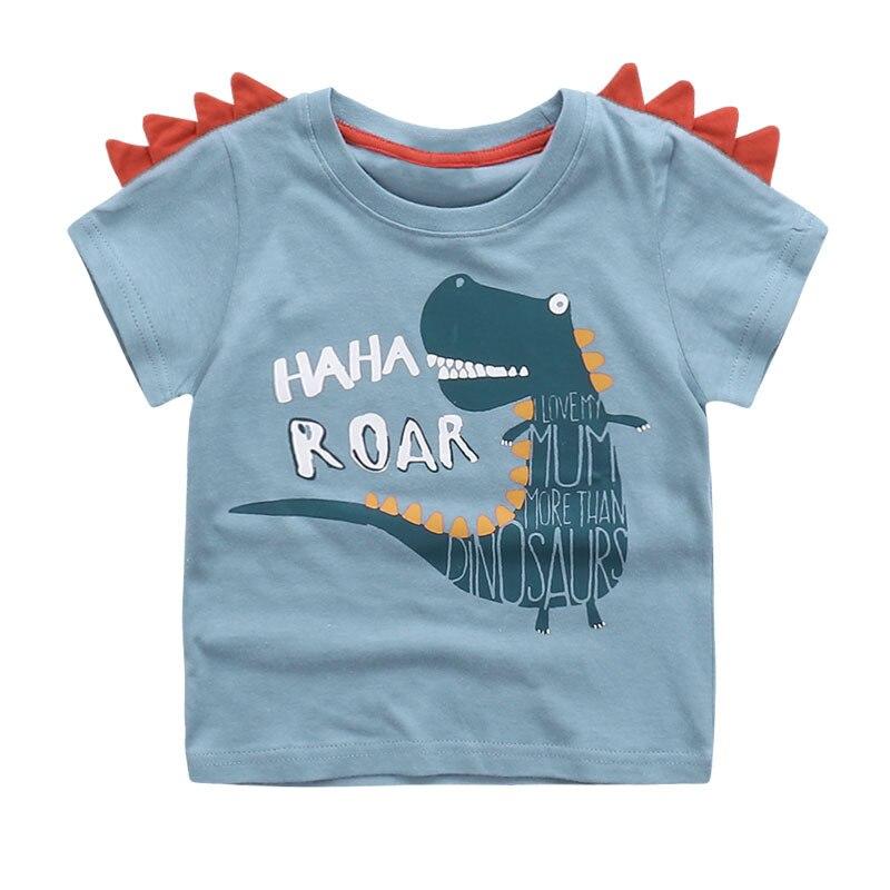 Милые новые летние девушки Футболка для мальчиков детская дном Дети Прекрасный 3D животных мультфильм рубашка детская одежда, динозавр/медв...