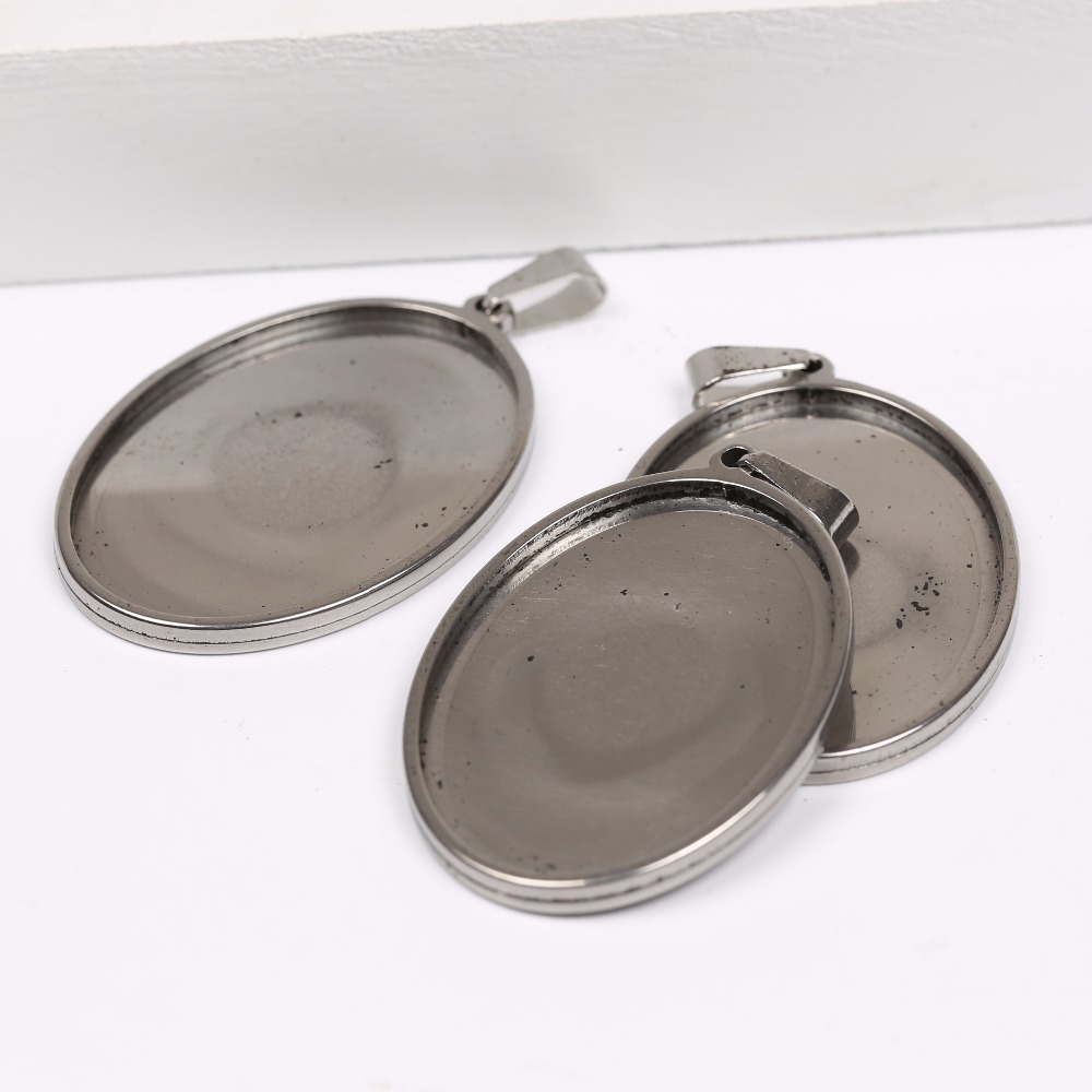 onwear 5pcs fit 25x35mm oval cabochon setting stainless steel blank cameo pendant base trays diy jewelry bezel findings 10pcs 25mm chain pendant necklace setting cabochon cameo base tray bezel blank diy jewelry making findings