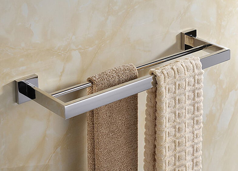 Free Shipping SUS 304 stainless steel Mirror Surface Double Towel Bar,Towel Holder SM008-1 free shipping sus 304 stainless steel mirror surface towel rack clothes towel rack towel rack sm008