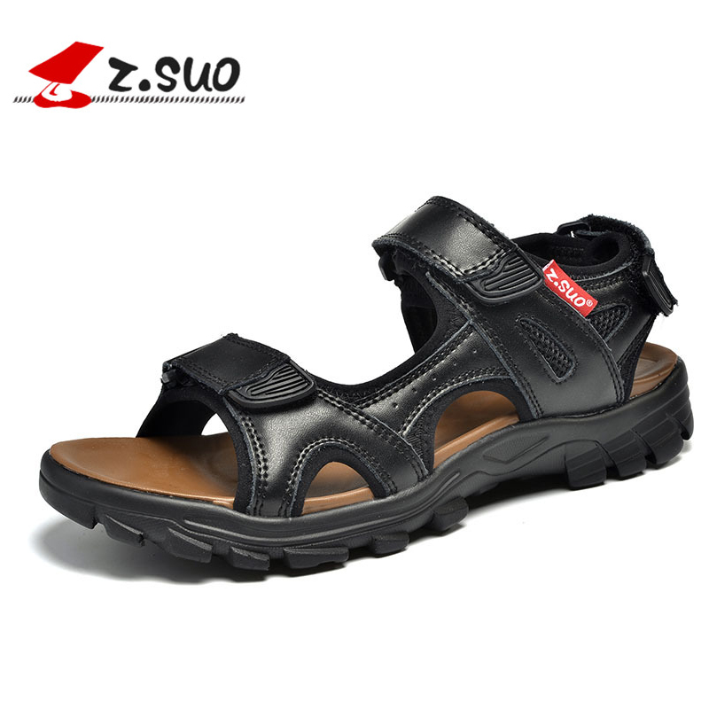 2016 Summer Breathable Black Fashion Men Sandals Leather Casual Outdoor Beach Shoes Loop Men'S Flats Waterproof Cowhide Slippers