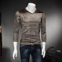 Brand Clothing Men T Shirts Autumn V Neck Slim Fit Long Sleeve Mens Casual T Shirts
