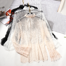 Lace See-through Women Blouse Summer Ruffled Neck Butterfly Sleeve Sexy Ladies Tops Flower Back Shirts Night Club Tops 0.07