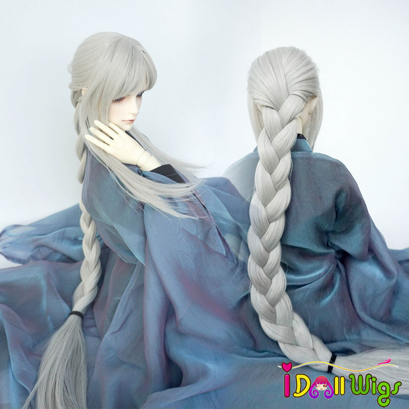 Free Shipping 1/3 Bjd Boy Style Wig High Temperature Fiber Silver Gray Long Braided Bjd Hair Wig in Beauty MUZIWIG silver gray cosplay adult wig page 5