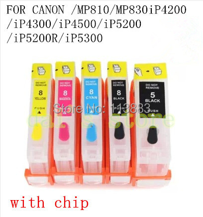 цена PGI-5BK CLI-8 BK C M Y refillable ink cartridge for canon PIXMA MP810/MP830 iP4200/iP4300/iP4500/iP5200/iP5200R/iP5300 with chip
