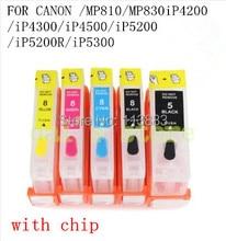 Cartucho CLI-8 BK cmy cartucho de tinta recargable para canon PIXMA MP810 / MP830 iP4200 / iP4300 / iP4500 / iP5200 / iP5200R / iP5300 con el chip