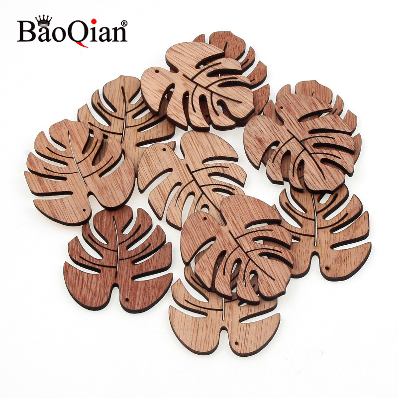 45x49mm Home Decoration Art Christmas 12Pcs Wooden Coffee Cartoon Leaves Creative DIY Embellishments Wood Ornament Cutouts Craft