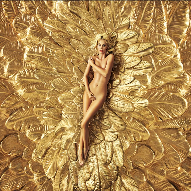 Dropship Colomac Gold Wallpaper Blonde Feather Nude <font><b>Sexy</b></font> Women <font><b>3d</b></font> Mural Papel <font><b>3d</b></font> Para Paredes Living Room <font><b>Wall</b></font> <font><b>Papers</b></font> Home Decor image