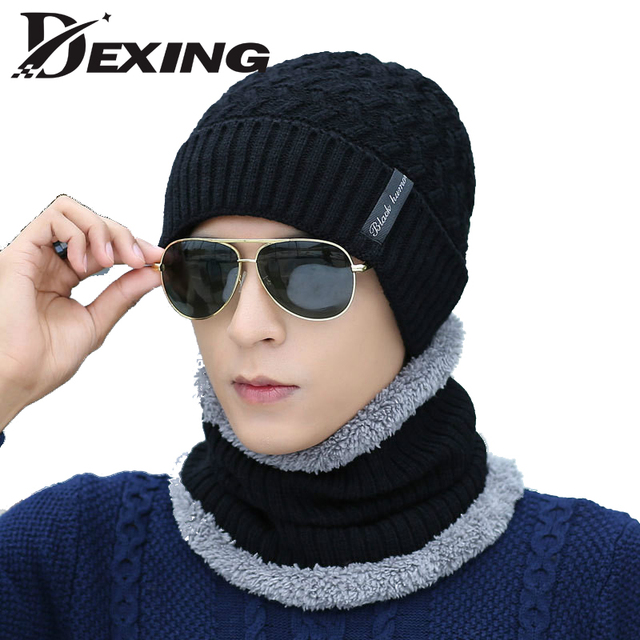 шею шарф зимняя шерстяная одежда меховая шапка вязание для мужчин