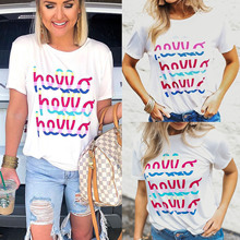 2019 Hot Selling Summer Womens Tops and Blouse Round Neck Letter Printed  Short Sleeve Women Shirts Casual