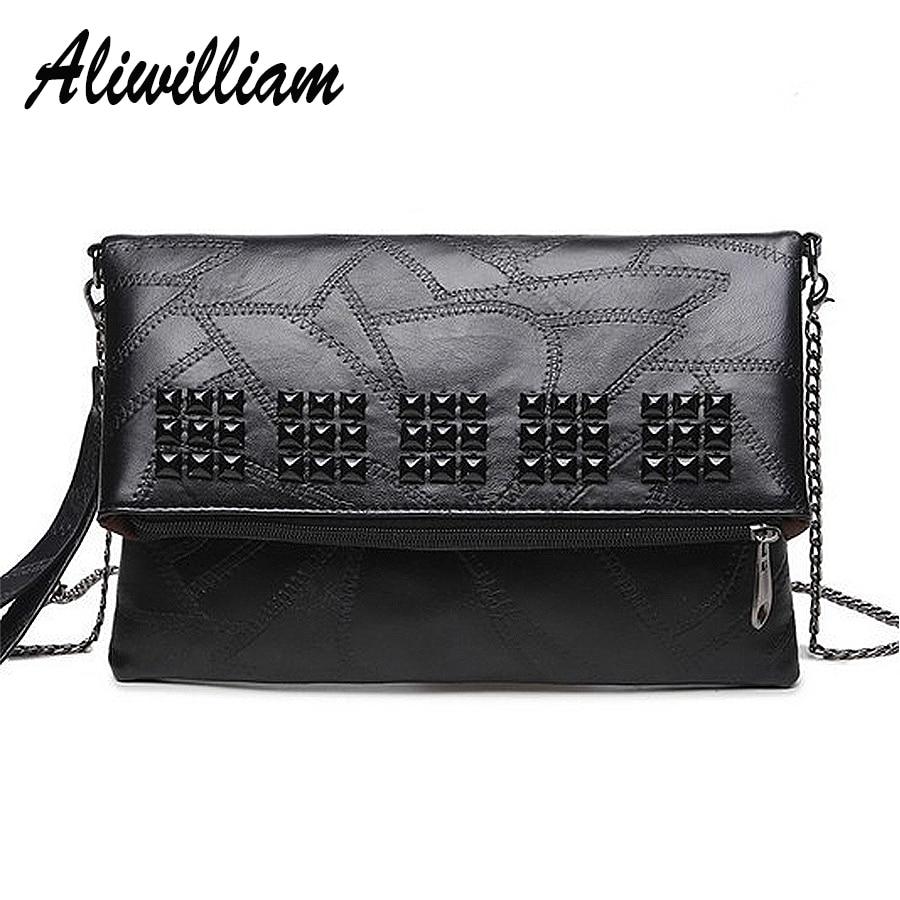2017 Black Leather Rivet Women Envelope Bag Women&#8217;s Shoulder Bag Lady Messenger Bags <font><b>Big</b></font> Clutch Handbag For Ladies Evening Bags