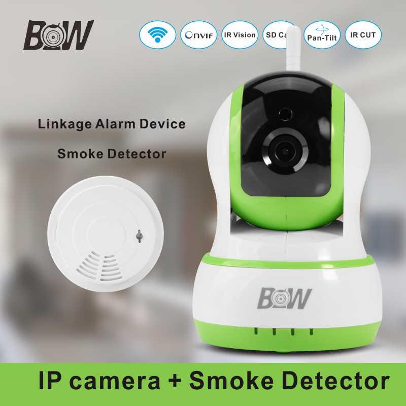 ФОТО Mini Wi-Fi Camera PTZ Plug Play Onvif + Wifi Smoke Detector Automatic Alarm Security Camera Wireless Surveillance BW13GR