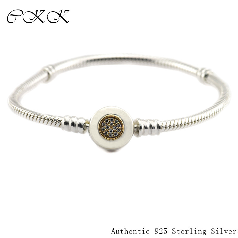 100% 925 Sterling Silver Two Tone Signature Bracelet With 14K Gold & Clear CZ for Women Fit Charm Beads SLB028K