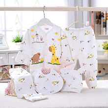 Популярный милый комплект одежды для малышей 0-3 месяцев, мягкое нижнее белье для новорожденных мальчиков и девочек, рубашка с принтом животных и штаны, хлопковая одежда, 5 шт