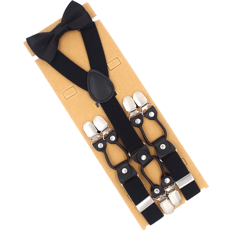 JIERKU Suspenders Set Man's Braces With Bow Tie 6 Clips Suspensorio Tirante Fashion Trousers Strap Husband's Gift 2.5*120cm