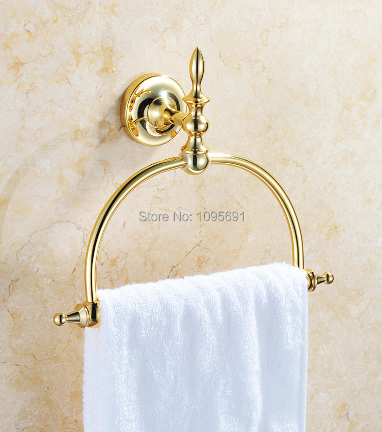 ФОТО Brass Titanium  Golden Finished Towel Ring,Bathroom Accessories Products Gold Towel Holder,Towel Rack,Towel Bar