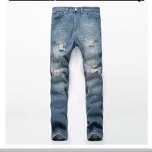 Night Club White Button Jeans Men Denim Blue Ripped Jeans Trousers 28-42 High Quality Cotton Mens Brand  Jeans