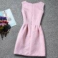 Nuevo cumpleaños de la muchacha vestido 6-15Y diseños de impresión de la princesa vestidos navidad para Party Girls Kids Color sólido ropa moda