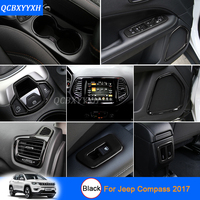 Car Styling Black Color For Jeep Compass 2017 Car Interior Decoration Sequins Car Sticker Inner Door