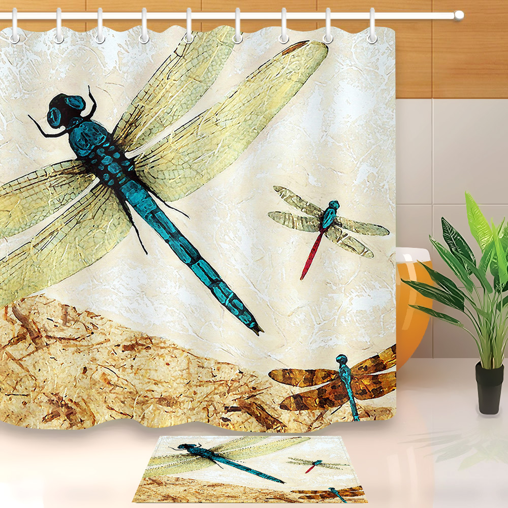 LB Flying Dragonfly Wall Shower Curtains With Bath Mat Set Bathroom Curtain Liner Waterproof Polyester Fabric for Bathtub Decor whales and sea bathroom decor