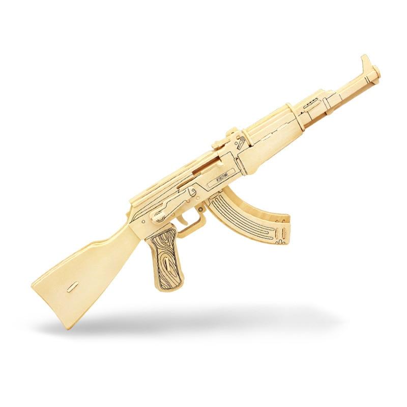 Niños Pistola Modelo Juguetes 3D Simulación De Madera AK47 Asalto - Juegos y rompecabezas