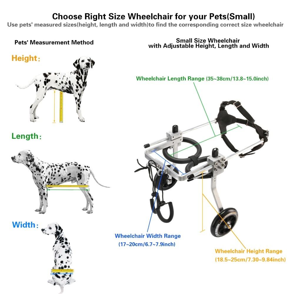 Taille S-chariot en aluminium pour animaux de compagnie/chien fauteuil roulant pour petit chien/chat/toutou/chiot handicapé
