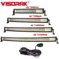 VISORAK 4 Row LED Light Bar 22 32 42 52 Straight Curved Offroad LED Work Light Bar For 4x4 4WD Truck Trailer SUV ATV UTV