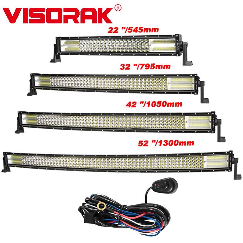 VISORAK Quad-row 22 32 42 52 pouces barre de lumière à LED incurvée droite pour voiture bateau 4WD 4x4 camion SUV ATV Jeep tout-terrain LED lumière de travail