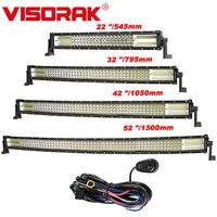VISORAK Quad row 22 32 42 52 Inch Straight Curved LED Light Bar 4x4 LED Bar For Car Boat 4WD 4x4 Truck SUV ATV Jeep Offroad
