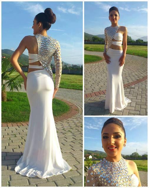 f8249be1545ae One Shoulder Mermaid Wedding Dresses Chiffon Crystal Beaded Bridal Gown  Custom Made Court Train Vestido De Novia M1101