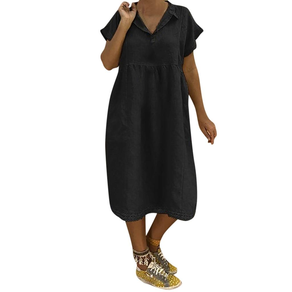 JAYCOSIN Summer Women's Plus Size Short Sleeves Loose Solid V-Neck Evening Gown Long Lace Summer Dress Vestido De Festa 2019