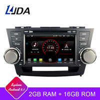 LJDA 2 Din Android 9.1 Car DVD Player For Toyota highlander 2008 2011 Wifi GPS Radio 2G+16G Quad Cores Multimedia Stereo RDS