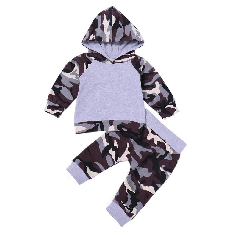 2pcs/set Infant Boy Clothes Set Camo Print Kids Baby Outfits Suit Long Sleeve Boys Hoodies Tops Elastic Children Pants Tracksuit ...