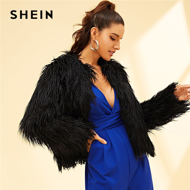 058fd2b9af SHEIN Black Hook & Eye Closure Faux Fur Shaggy Coat Long Sleeve Round Neck  Highstreet Coat 2018 Autumn Women Party Outerwear