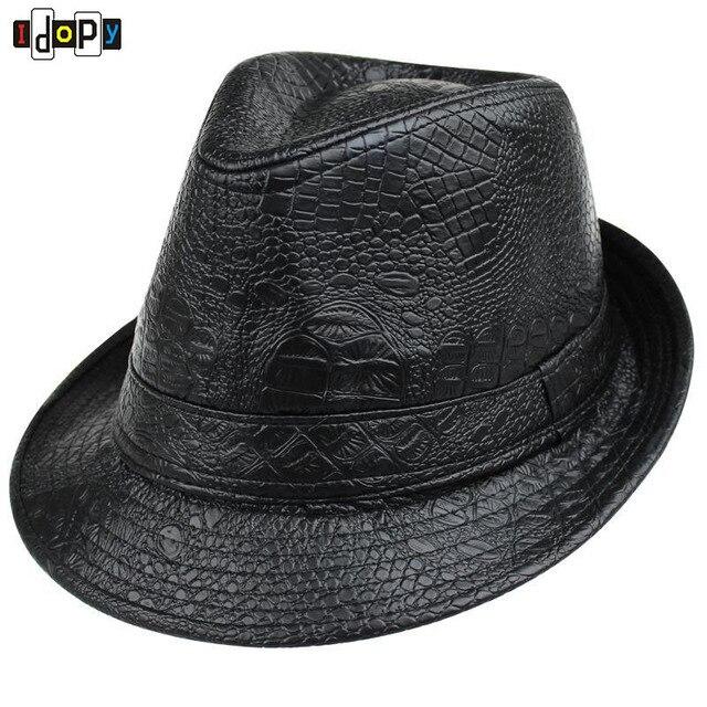 Simples Estilo Moda Primavera   Outono Sólida Couro Cavalheiro Fedoras  Chapéus de Aba Larga Preto Chapéus 5f10d0ecc4b