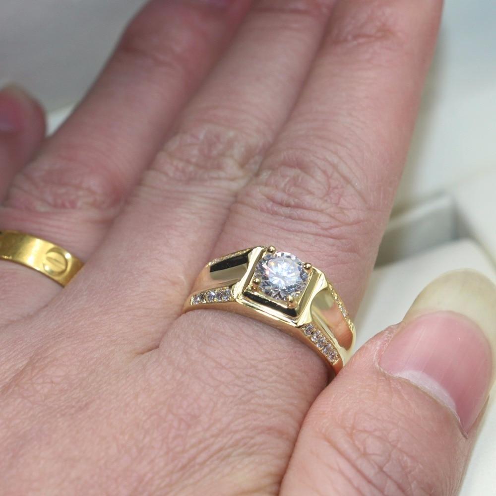 Vecalon Handmade Men Jewelry wedding Band ring 1.5ct AAAAA Zircon Cz ...