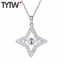 TYTW Chic Women S925 Silver Necklace Classical Star Women Pendant Necklaces 2018 fashion Moving Dancing Stone Necklaces