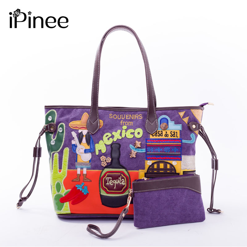 iPinee Vintage Casual Canvas Handbags Ladies Large Capacity Tote Bag With Purse Embroidery Women Crossbody Shoulder