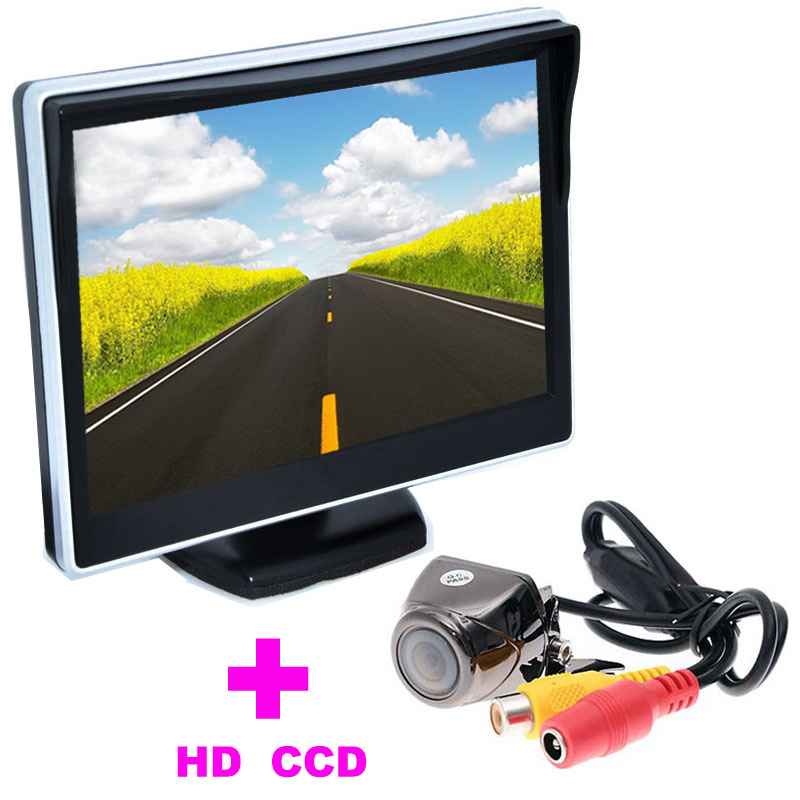 Universal HD CCD Car Rearview Camera 5 TFT LCD Car Monitor 2 in 1 Auto Parking