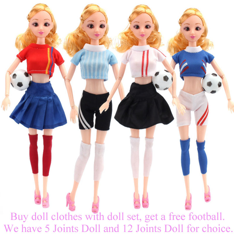 Handmade Casual Football Girl Doll Clothes Sports Girl Clothes for Dolls Football Baby Sport Suits Barbies Clothes Accessories (13)