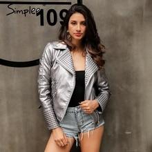 Simplee Bling faux leather jacket women Zipper punk rock cool motorcycle jacket coat Autumn winter jacket coat outerwear