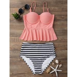 7ae67587df192 2018 Women Summer Halter Bikini Push Up Swimsuit Vintage Bathing Suit