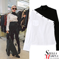 2017 Europeu Elegante Mulheres Patchwork Camisa Blusa Black White Color Contrast Gola Com Bolso Das Senhoras Camisas Casual 2131