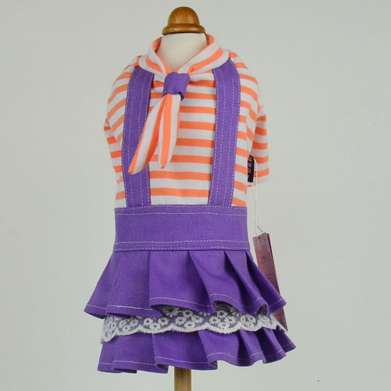 Newest Navy Blue Striped Double Skirt Tie Pet Dog Dress Spring And Summer Clothes Pink Purple XS S M L XL