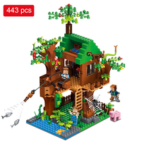 443pcs My World Building Blocks DIY Forest House Bricks Blocks Enlighten Toys For Kids Compatible With