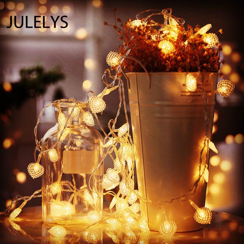 JULELYS 10M 80 Bulbs Heart Garland Battery Powered LED Light Gerlyanda Christmas String Lights Decoration For Wedding Holiday