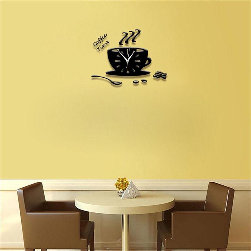 1 SET New Modern DIY Clock Coffee Cup Wall Sticker Unique Clock ...