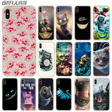 Alice no País Das Maravilhas Cheshire Cat Case para iphone 11 Pro Max XR XS X Tampa Do Telefone Cases para iphone 7 10 8 plus 6s 5 4S(China)