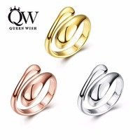 Queenwish New Gold Rose Gold Silver Color Copper Ring Promise Rings For Couples Bridal Sets Design